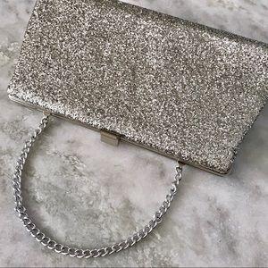 Vintage Silver Glitter Clutch